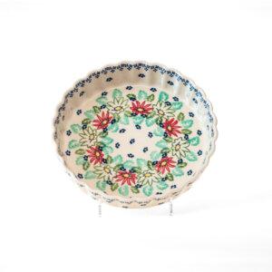 Bunzlauer Keramik Quiche Tarteform 23cm Dekor MC20 Handarbeit Neu