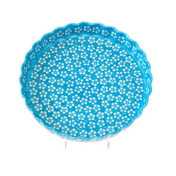Bunzlauer Keramik Quiche Backform 30cm Dekor Kolor Love Türkis