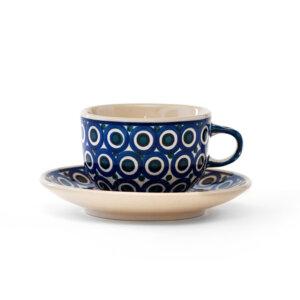 Bunzlauer Keramik Tasse mit Untertasse 200ml Dekor 58 Handarbeit