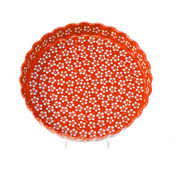 Bunzlauer Keramik Quiche Backform 30cm Dekor Kolor Love Rot