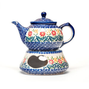 Bunzlauer Keramik Kanne mit Stövchen 0,7L Dekor JS14 Handarbeit