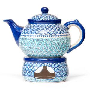 Bunzlauer Keramik Keramik Tee-/Kaffeekanne mit Stövchen 1,5L Dekor CU-13 Handarbeit