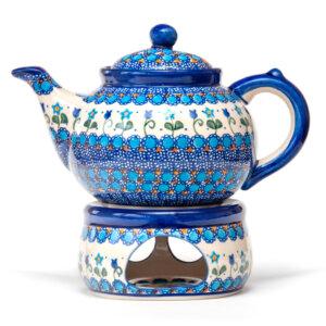 Bunzlauer Keramik Keramik Tee-/Kaffeekanne mit Stövchen 1,5L Dekor U-06 Handarbeit