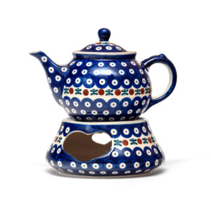 Bunzlauer Keramik Kanne mit Stövchen 0,7L Dekor 70 Handarbeit