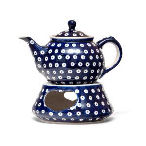 Bunzlauer Keramik Kanne mit Stövchen 0,7L Dekor 70A Handarbeit
