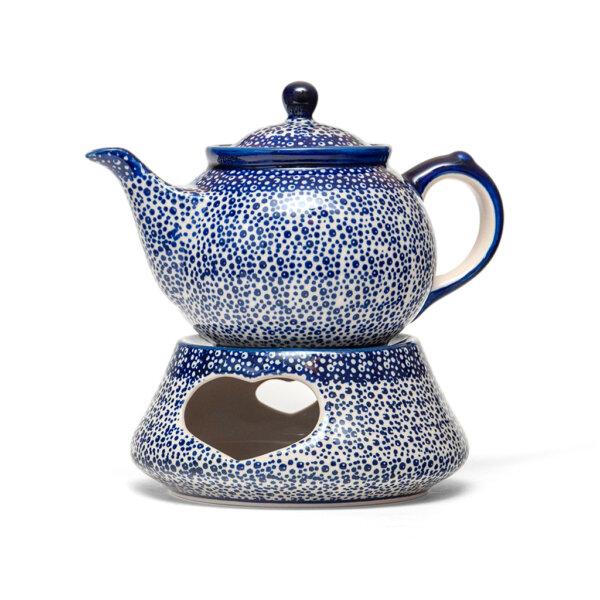 Bunzlauer Keramik Kanne mit Stövchen 0,7L Dekor MAGM Handarbeit