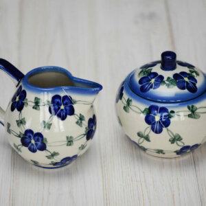 Bunzlauer Keramik Zuckerdose & Milchkännchen 2tlg Handarbeit