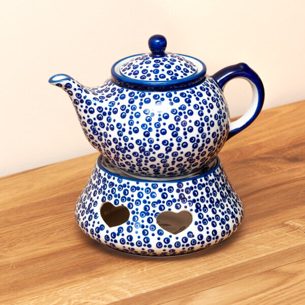 Bunzlauer Teekanne mit Stövchen