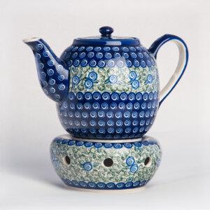 Bunzlauer Keramik Teekanne mit Sieb und Stövchen 1.5 L Dekor A-1073A Handarbeit