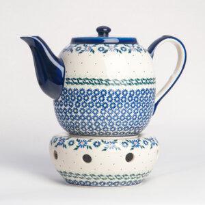 Bunzlauer Keramik Teekanne mit Sieb und Stövchen 1.5 L Dekor A-1163A Handarbeit