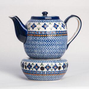Bunzlauer Keramik Teekanne mit Sieb und Stövchen 1.5 L Dekor A-221A Handarbeit