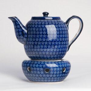Bunzlauer Keramik Teekanne mit Sieb und Stövchen 1.5 L Dekor A-226A Handarbeit