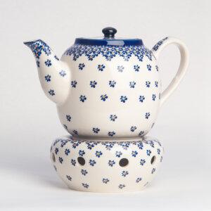 Bunzlauer Keramik Teekanne mit Sieb und Stövchen 1.5 L Dekor A-882A Handarbeit