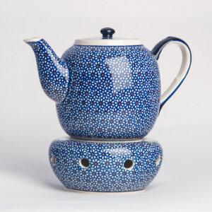 Bunzlauer Keramik Teekanne mit Sieb und Stövchen 1.5 L Dekor D-120 Handarbeit