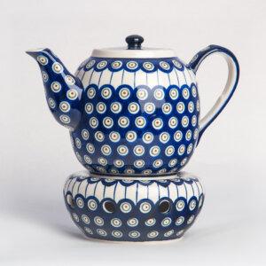 Bunzlauer Keramik Teekanne mit Sieb und Stövchen 1.5 L Dekor D-8 Handarbeit