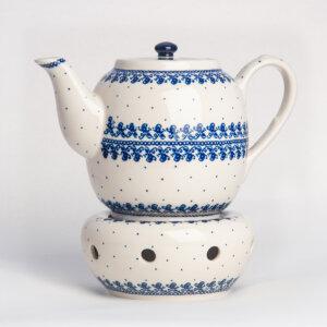 Bunzlauer Keramik Teekanne mit Sieb und Stövchen 1.5 L Dekor D-866 Handarbeit