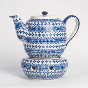 Bunzlauer Keramik Teekanne mit Sieb und Stövchen 1.5 L Dekor D-922 Handarbeit
