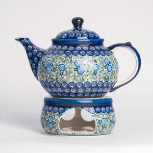 Bunzlauer Keramik Kanne mit Stövchen 1.25 L Dekor A-1073A Handarbeit
