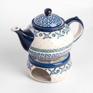 Bunzlauer Keramik Kanne mit Stövchen 1.25 L Dekor A-1163A Handarbeit
