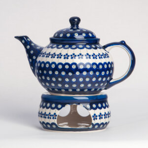 Bunzlauer Keramik Kanne mit Stövchen 1.25 L Dekor A-166A Handarbeit