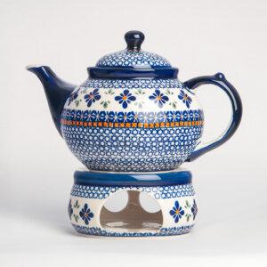 Bunzlauer Keramik Kanne mit Stövchen 1.25 L Dekor A-221A Handarbeit