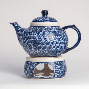 Bunzlauer Keramik Kanne mit Stövchen 1.25 L Dekor D-120 Handarbeit