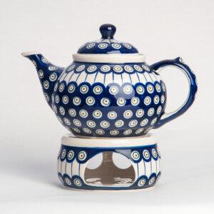 Bunzlauer Keramik Kanne mit Stövchen 1.25 L Dekor D-8 Handarbeit