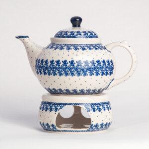 Bunzlauer Keramik Kanne mit Stövchen 1.25 L Dekor D-866 Handarbeit
