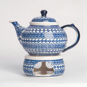 Bunzlauer Keramik Kanne mit Stövchen 1.25 L Dekor D-922 Handarbeit