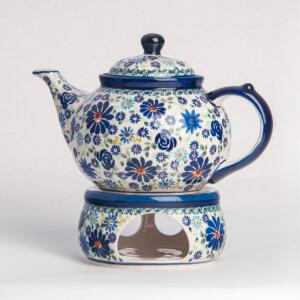 Bunzlauer Keramik Kanne mit Stövchen 1.25 L Premium Kollektion DU-126 Handarbeit