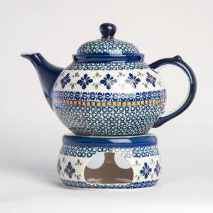 Bunzlauer Keramik Kanne mit Stövchen 1.25 L Dekor DU-60 Handarbeit