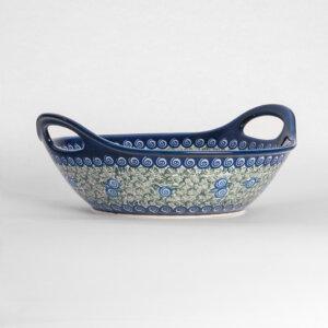 Bunzlauer Keramikschale Obstschale mit Griffen rund 30 cm Dekor A-1073A Handarbeit