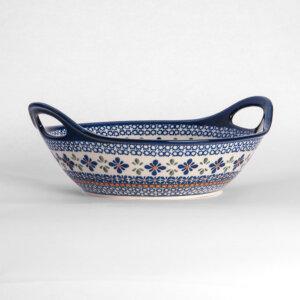Bunzlauer Keramikschale Obstschale mit Griffen rund 30 cm Dekor A-221A Handarbeit