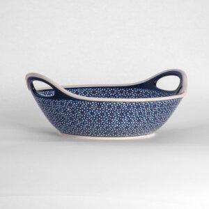 Bunzlauer Keramikschale Obstschale mit Griffen rund 30 cm Dekor D-120 Handarbeit