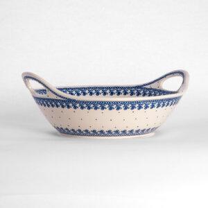 Bunzlauer Keramikschale Obstschale mit Griffen rund 30 cm Dekor D-866 Handarbeit