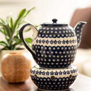 Bunzlauer Keramik Teekanne mit Sieb und Stövchen 1.5 L Dekor A-166A Handarbeit